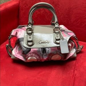 Coach purse pink and grey